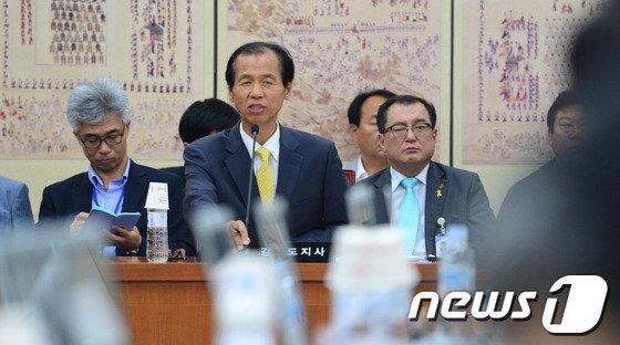 [사진]평창동계올림픽 특위 출석한 최문순 강원도지사