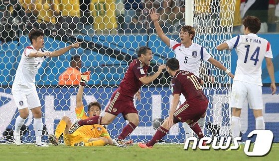 [사진][월드컵] 동점골 내준 대표팀