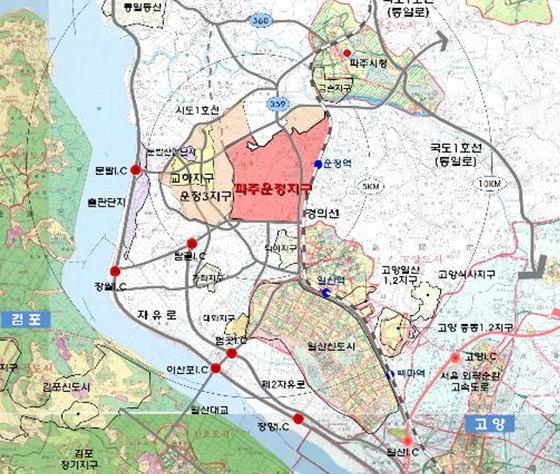 경기 파주 운정지구 주변 위치도./ 자료제공=한국토지주택공사(LH)