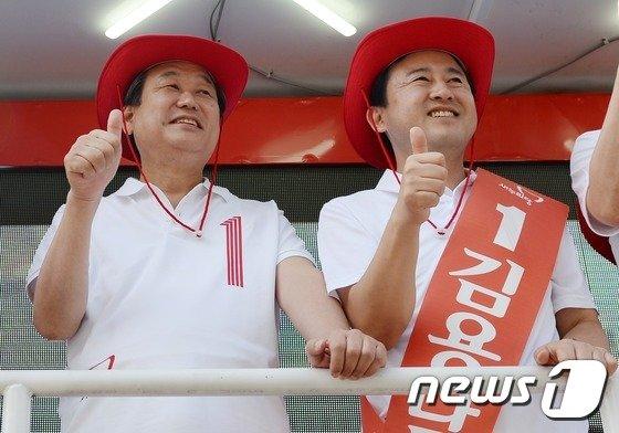 [사진]김무성 '7.30 재보선 D-1, 김용남과 함께'