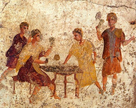 ↑ 폼페이의 고대 프레스코 벽화에 그려진 다이스 플레이어