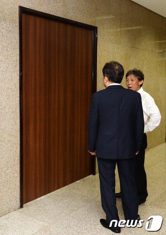 [사진]박영선 원내대표 집무실, 출입문 대신 방음벽으로