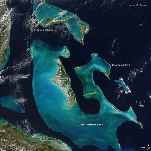 ↑ 바하마 군도를 위성에서 바라본 모습