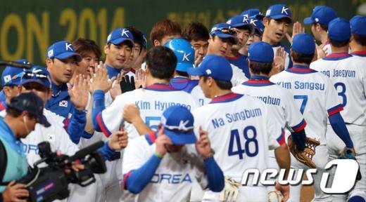 [사진]한국 야구 15 대 0 콜드게임 승 '산뜻한 출발'