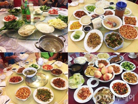 패키지여행에서 제공된 식사. 위 두 사진은 특식으로 소개된 샤브샤브(왼쪽)와 베이징 오리고기(오른쪽)/사진=이지혜 기자