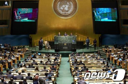 [사진]유엔총회 기조연설하는 박 대통령