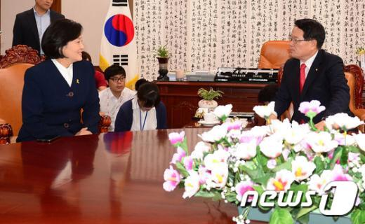[사진]정의화-박영선 회동