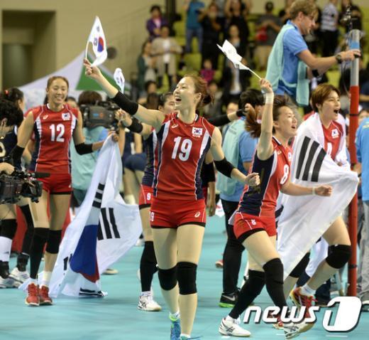 [사진]환호하는 한국 여자 배구