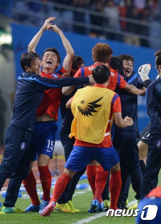 [사진]한국 축구 '금메달'