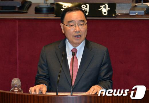 [사진]정부 예산안 제안 발언하는 정홍원 총리