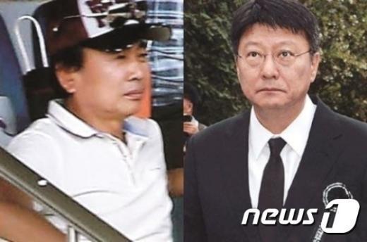 정윤회씨(왼쪽)와 박지만 EG그룹 회장.  © News1