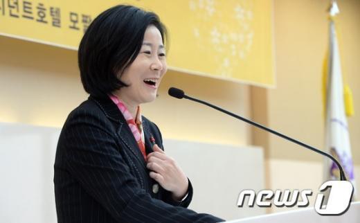 [사진]김희정 여성가족부 장관의 축사