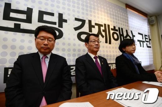 [사진]통진당 해산 비상원탁회의 자리한 이정희-오병윤
