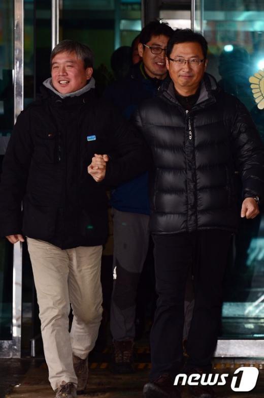 [사진]무죄 선고받은 김명환 전 철도노조 위원장