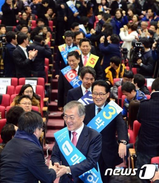 [사진]합동연설회 참석하는 당대표 후보자들
