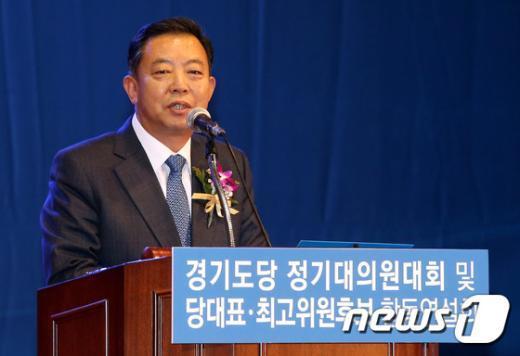 [사진]수락연설하는 이찬열 경기도당 위원장