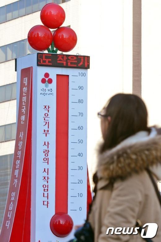 [사진]사랑의 온도탑 '올해도 100℃ 넘었네'