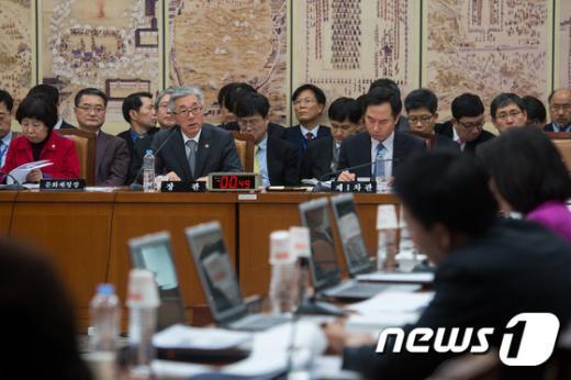 [사진]교문위 전체회의 출석한 김종덕 문화체육관광부 장관