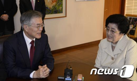 [사진]문재인 대표, 이희호 여사 예방