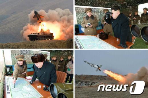 지난달 북한 김정은 노동당 제1비서가 조선인민군 제4군단 관하 군인들의 섬 화력 타격 및 점령을 위한 연습을 시찰하고 있는 모습.(노동신문) 2015.2.21/뉴스1 © News1