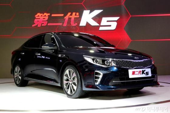 기아자동차가 20일 상하이모터쇼에서 공개한 신형 K5. /사진제공=기아자동차
