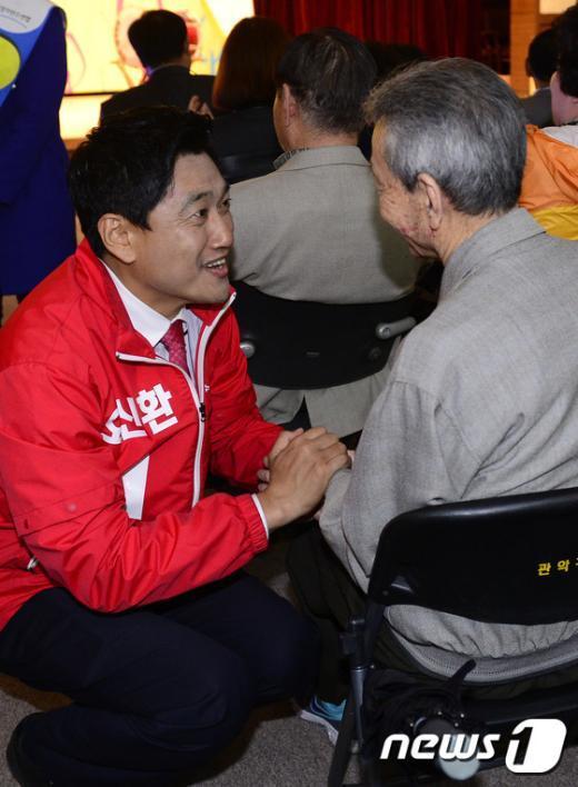 [사진]장애인의 날 행사장 찾은 오신환 후보