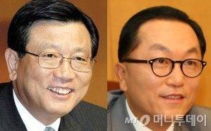 사진 왼쪽부터 박삼구 금호아시아그룹 회장과 박현주 미래에셋그룹 회장