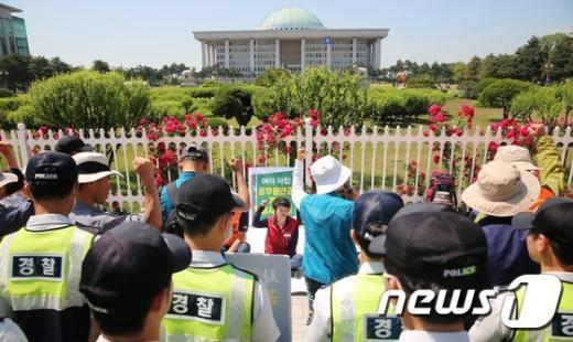 [사진]민주노총, 대국회 농성 '돌입'
