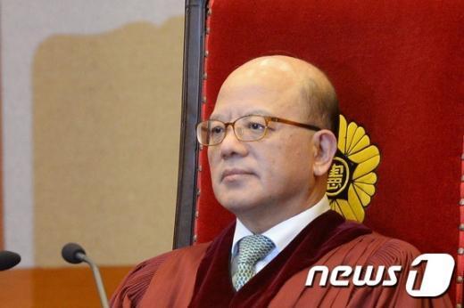 [사진]대심판정 자리한 박한철 헌재소장