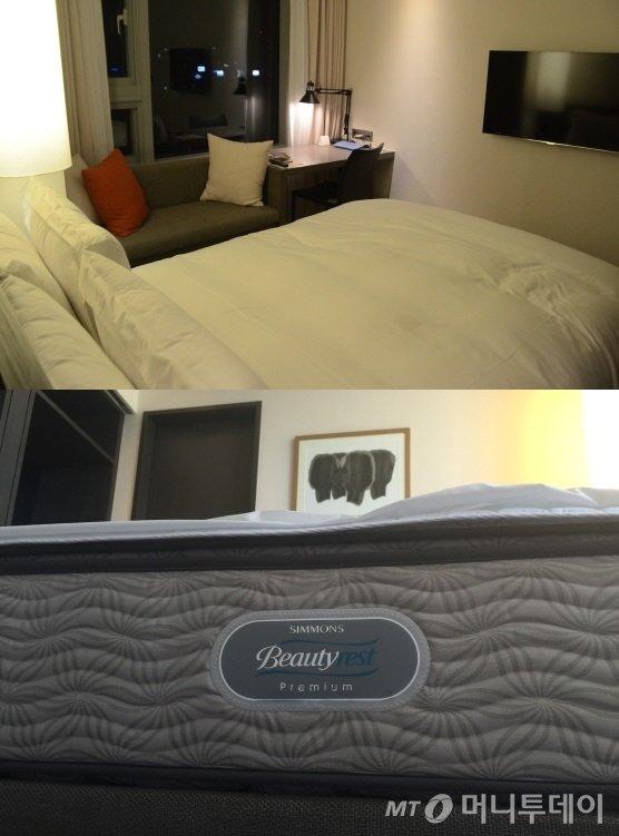 쾌적한 수면을 위해 5성급 호텔용 매트리스인 '시몬스 뷰티레스트 프리미엄'을 사용하고 있다/사진=이지혜 기자 <br /> <br />