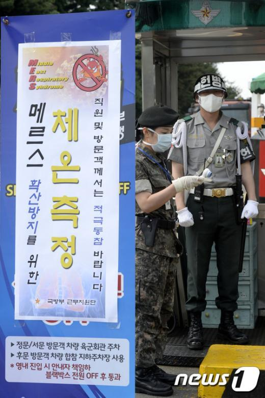 [사진]체온 검사계 든 헌병들
