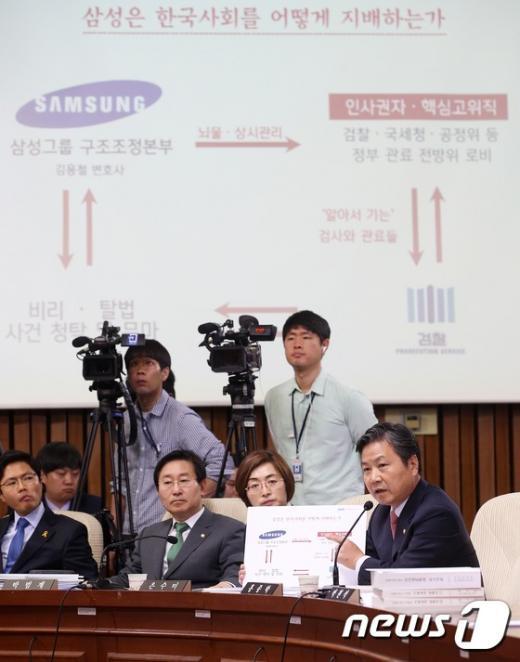 [사진]'삼성 X파일' 추궁하는 홍종학 의원