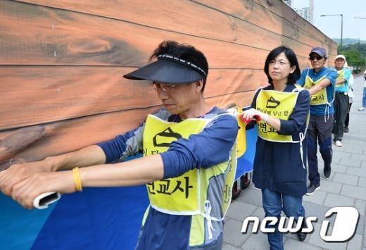 [사진]이정희 '세월호 유족들과 함께'