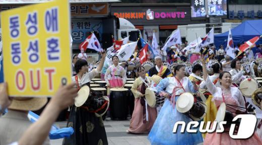 [사진]합동한성총회, 퀴어문화축제 반대 집회