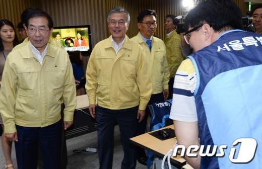 [사진]서울시 메르스 대책본부 방문한 문재인 대표