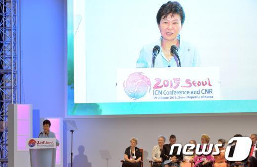 [사진]세계간호사대회 축사하는 박근혜 대통령