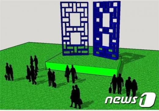 서울시는 광복 70주년을 맞아 한옥의 창을 형상화한 시민무대 ´70개의 문´을 서울광장에 설치한다고 3일 밝혔다. (사진=서울시 제공) 2015.7.2/뉴스1© News1