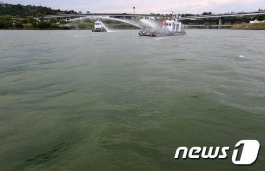 [사진]녹조 라떼로 변한 한강