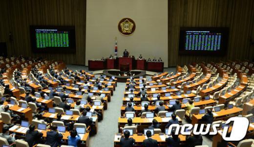 6일 저녁 서울 여의도 국회에서 새누리당 단독으로 열린 본회의에서 여당 의원들이 법안을 처리하고 있다. 새정치연합는 국회법 개정안의 재의결이 새누리당의 표결 불참으로 무산되자 다른 법안 처리를 위한 본회의에 참여하지 않기로 했다. 2015.7.6/뉴스1 © News1 허경 기자