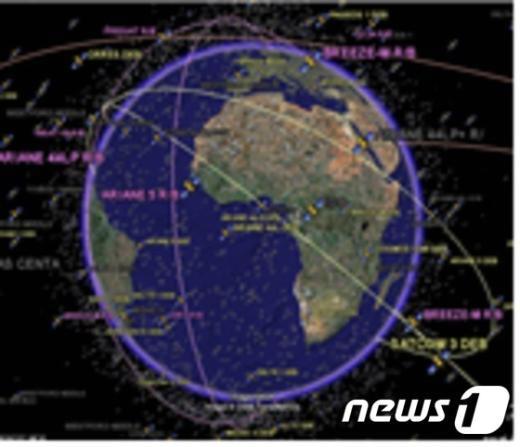 우주공통작전상황도(COP) 시현 장면(공군 제공)© News1