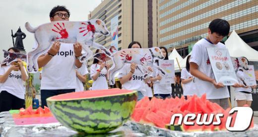 [사진]'복날 육식 대신 시원한 수박드세요'