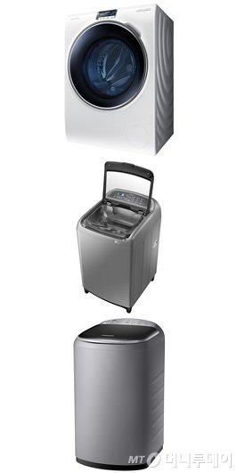 사진 위에서부터 삼성전자 크리스탈 블루도어 드럼세탁기, 액티브워시 세탁기, 아가사랑 플러스 세탁기/사진제공=삼성전자