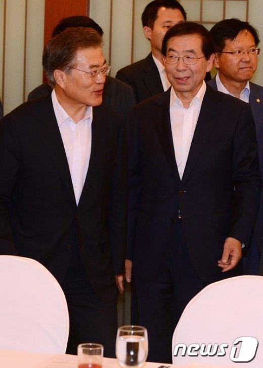 [사진]문재인-박원순, 서울시 현안·예산정책 협의