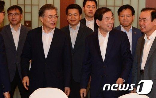 [사진]예산·정책협의회 참석한 문재인 대표와 박원순 시장