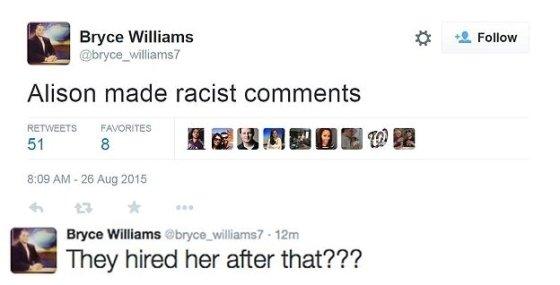 """26일(현지시간) 범행 이후 플래내건은 자신의 트위터에 """"(희생자)앨리슨이 인종차별 발언을 했다"""" """"그 이후에도 그를 고용했다니?""""라는 말을 남겼다/사진제공=트위터"""