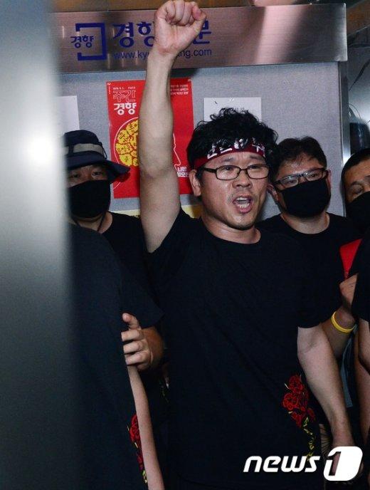 [사진]마지막까지 '투쟁' 외치는 한상균 위원장