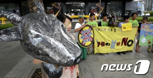 양은주 예술가가 지난 24일  서울 광화문 KT 앞에서 설악산 살리기 행위극을 선보이고 있다. (서울=뉴스1) 안은나 기자 © News1