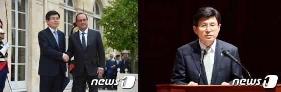 황교안 국무총리가 지난 18일(현지시간) 프랑스 파리 엘리제 궁에서 프랑수아 올랑드 대통령을 만나 악수하고 있다. (국무총리실 제공)