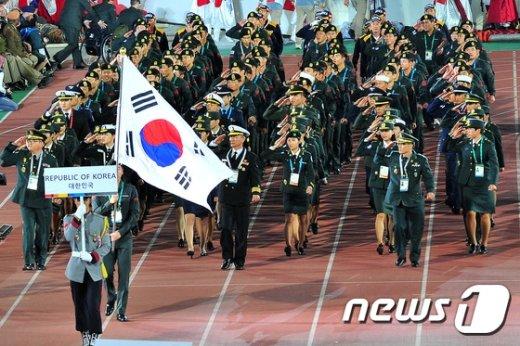 [사진]대한민국 선수단 '충성'