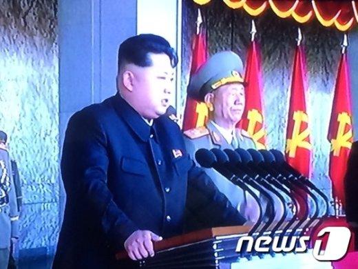 북한 김정은 노동당 제1비서가 10일 평양에서 진행된 노동당 창건 70년 기념식에서 대중연설을 진행했다.(조선중앙TV 캡처)© News1